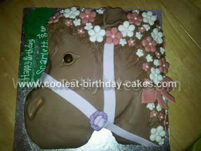 Homemade Girlie Horse Head Cake