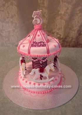 Homemade Girls Carousel Cake