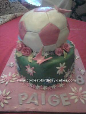 Homemade Girls Football Cake