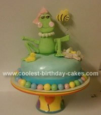 Homemade Girly Frog Birthday Cake