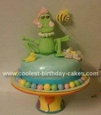 Homemade Girly Frog Birthday Cake