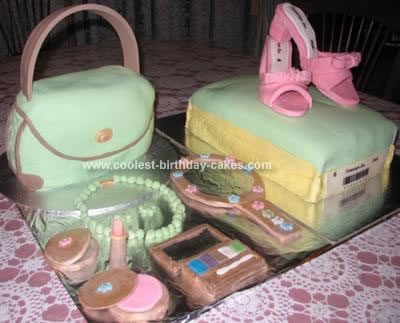 Homemade Glamour Bag And Shoes Cake