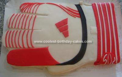Homemade Goal Keeper Glove Birthday Cake
