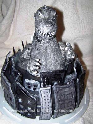 Homemade Godzilla Birthday Cake Design