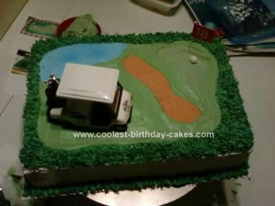 Homemade Golf Course Birthday Cake