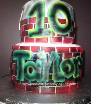 Homemade Graffiti Birthday Cake