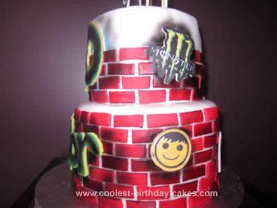 Homemade Graffiti Birthday Cake