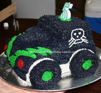 Homemade Gravedigger Monster Truck Cake