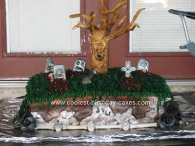 Homemade Graveyard Birthday Cake Design