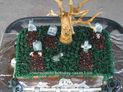 Homemade Graveyard Birthday Cake Design