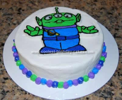 Homemade Green Alien Cake Toy Story