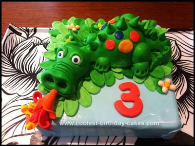 Homemade Green Fire Breathing Dragon Cake