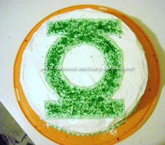 Homemade Green Lantern Birthday Cake