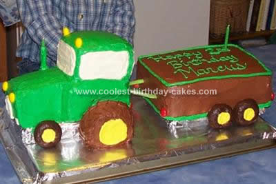 Homemade Green Tractor and Trailer Cake