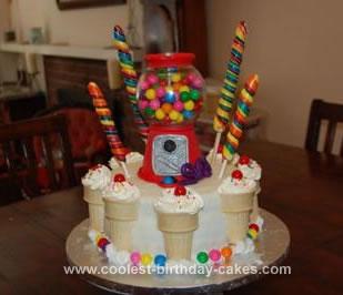 Homemade Gumball Machine and Ice Cream Cone Cake