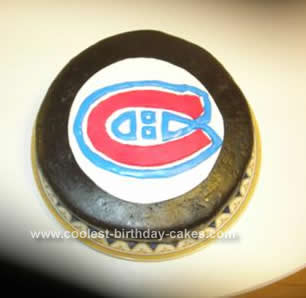 Homemade Habs Hockey Puck Cake