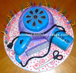 Groovy Coolest Hair Dryer Cake Funny Birthday Cards Online Overcheapnameinfo