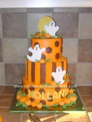 Homemade Halloween Ghost Birthday Cake
