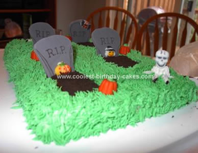 Homemade Halloween Graveyard Cake