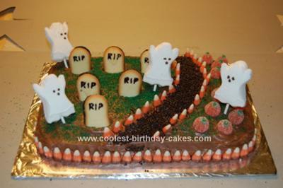 homemade halloween graveyard cake
