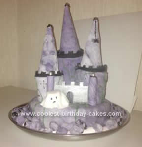 Homemade Halloween Haunted Castle Cake