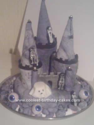 Homemade Halloween Haunted Castle Cake