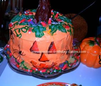 Homemade Halloween Jack O Lantern Cake