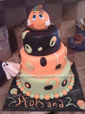 Homemade Halloween Pumpkin Birthday Cake