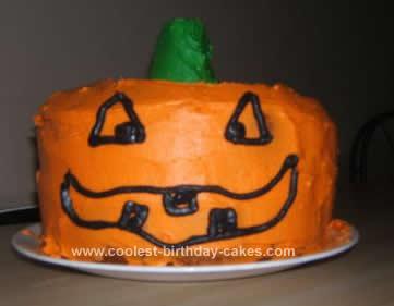 Homemade Halloween Pumpkin Cake