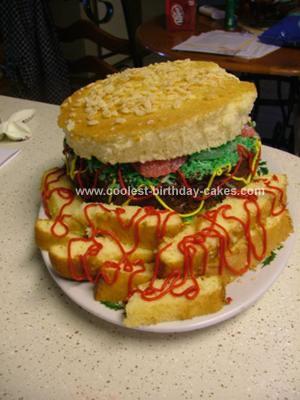 Homemade Hamburger and Fries Birthday Cake