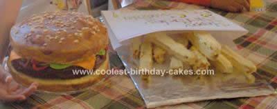 Homemade Hamburger and Fries Birthday Cake Design