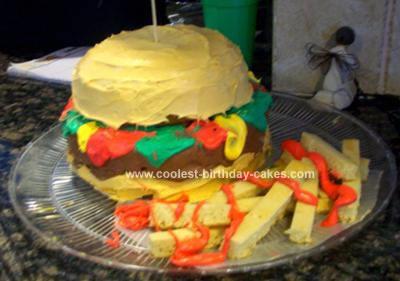 Homamade Hamburger Birthday Cake