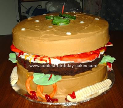 Brilliant Cool Homemade Hamburger Cake For My Cousin Funny Birthday Cards Online Overcheapnameinfo
