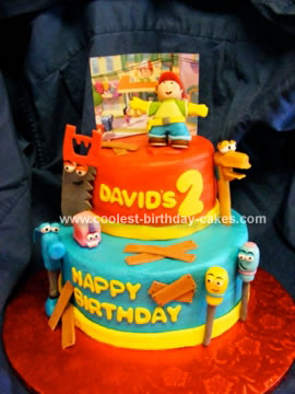 Tremendous Awesome Homemade 2 Tiered Handy Manny Cake Funny Birthday Cards Online Eattedamsfinfo