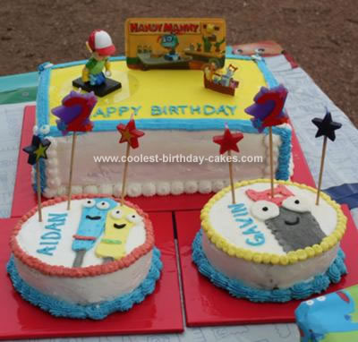 Prime Cool Homemade Handy Manny Cakes For Twins Birthday Cards Printable Inklcafe Filternl