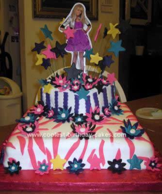 Awe Inspiring Coolest Hannah Montana Birthday Cake With Fondant Stars Birthday Cards Printable Inklcafe Filternl