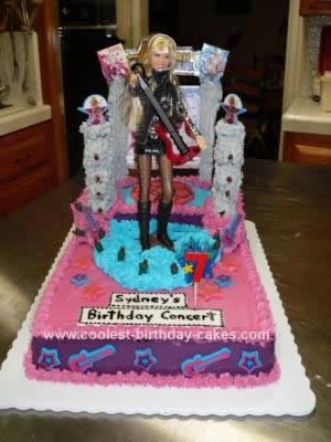 Phenomenal Coolest Hannah Montana Birthday Cake With Real Lights Funny Birthday Cards Online Alyptdamsfinfo
