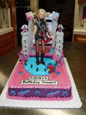 Fantastic Coolest Hannah Montana Birthday Cake With Real Lights Personalised Birthday Cards Veneteletsinfo