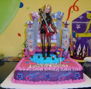 Pleasant Coolest Hannah Montana Birthday Cake With Real Lights Birthday Cards Printable Inklcafe Filternl