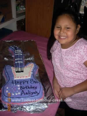 Homemade Hannah Montana Guitar Birthday Cake
