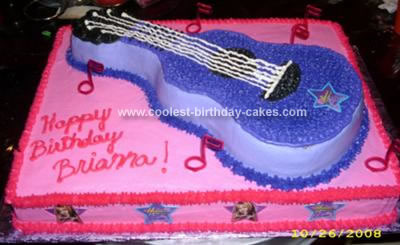 Remarkable Coolest Homemade Pink And Purple Hannah Montana Guitar Cake Birthday Cards Printable Inklcafe Filternl