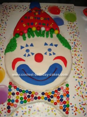Homemade Happy Clown Face Cake