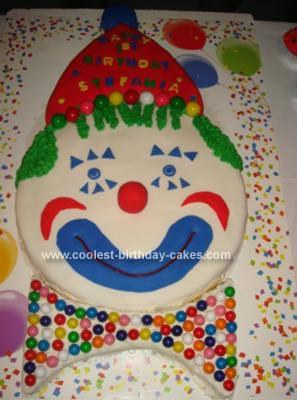 Homemade Happy Clown Face Cake