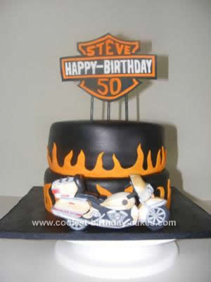 Homemade Harley Davidson Birthday Cake