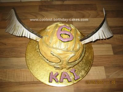 Homemade Harry Potter Golden Snitch Cake