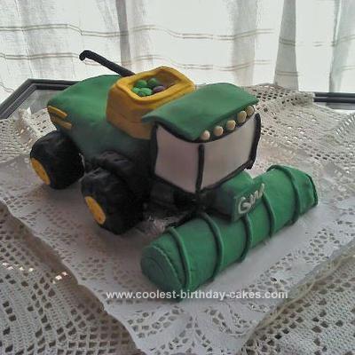 Homemade Harvester Birthday Cake
