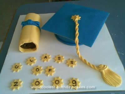 Homemade Hat and Scroll Graduation Cake