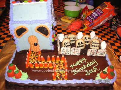 Homemade Haunted Cemetery Halloween Birthday Cake