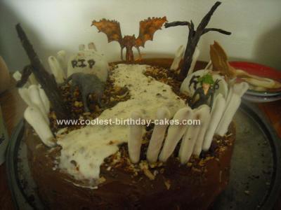 Homemade Haunted Graveyard Cake