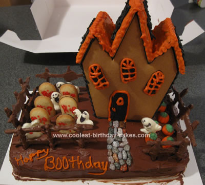 Homemade Haunted House Birthday Cake